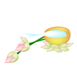 Water in Golden Bowl and Two Lotus vector image vector image