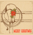 western christmas greeting card with traditional vector image vector image