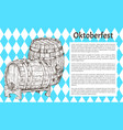 wood beer barrel sketch style oktoberfest poster vector image