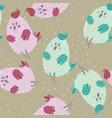 seamless pattern with cartoon cute blue bird vector image