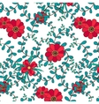 Botanical seamless pattern leafs and flowers vector image