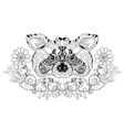 Zentangle raccoon head doodle hand drawn vector image
