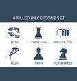6 piece icons vector image vector image