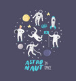 astronaut characters set with stars and rocket vector image