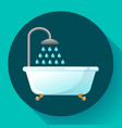 bathtub with shower flat icon water vector image