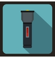 Black flashlight icon flat style vector image vector image