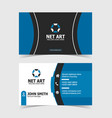 blue modern business card print template vector image vector image