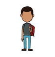 boy cartoon student young character backpack vector image