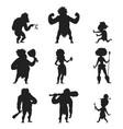 caveman primitive stone age black silhouette vector image
