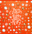 christmas logo on coral color background vector image vector image