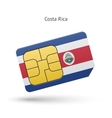 Costa Rica mobile phone sim card with flag vector image
