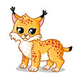 cute lynx on a white background in cartoon vector image vector image