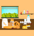 dairy products pastries cartoon vector image