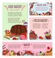 desserts and cakes for bakery menu template vector image vector image