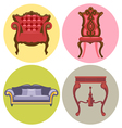 Furniture set flat style Sofa chair table bed vector image vector image