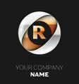 golden letter r logo symbol in the circle shape vector image