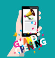 grand opening concept with phone in hand vector image vector image