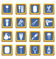 hairdresser icons set blue square vector image vector image