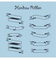 hand drawn ribbon set vector image vector image
