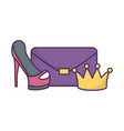 handbag high heels and crown icon on white vector image