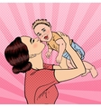 Happy Mother Kissing Her Smiling Baby Boy Pop Art vector image