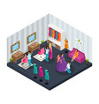 isometric makeup room concept vector image