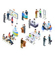 isometric meeting business people on presentation vector image vector image