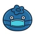 kawaii blueberry wearing mask cartoon vector image