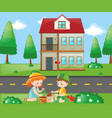 kids doing gardening at home vector image