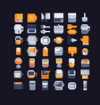 kitchen utensils pixel art icons set vector image vector image