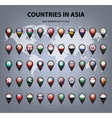 Map markers with flags - Asia Original colors vector image