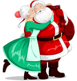 Mrs Claus Kisses Santa On Cheek And Hugs vector image vector image