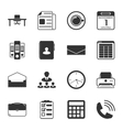 Office black and white flat icons set vector image vector image
