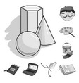 painter and drawing monochrome icons in set vector image vector image