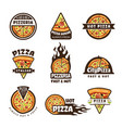 pizza labels pizzeria logo design italian cuisine vector image