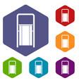 public garbage bin icons set hexagon vector image vector image