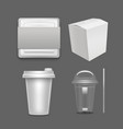 realistic detailed 3d white blank fast food vector image vector image