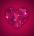 red diamond heart shape with star lights effect vector image vector image