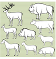Set of monochrome wild and domestic animals for de
