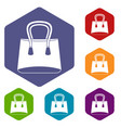 small woman bag icons set hexagon vector image vector image