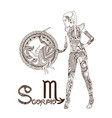 stylized zodiac sign of scorpio vector image
