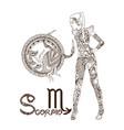 stylized zodiac sign scorpio vector image vector image