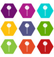 tasty candy icon set color hexahedron vector image vector image