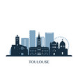toulouse skyline monochrome silhouette vector image vector image