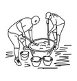two workers making cement mixing in construction vector image