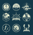 vintage marine labels collection vector image