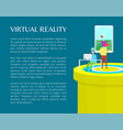 virtual reality people in vr glasses color banner vector image