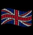 waving united kingdom flag mosaic of beer glass vector image