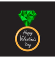 Wedding ring with green diamond Valentines Day vector image