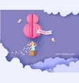 woman in basket of hot air balloon vector image